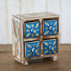 Antique Effect Wooden Four Drawer Trinket Box