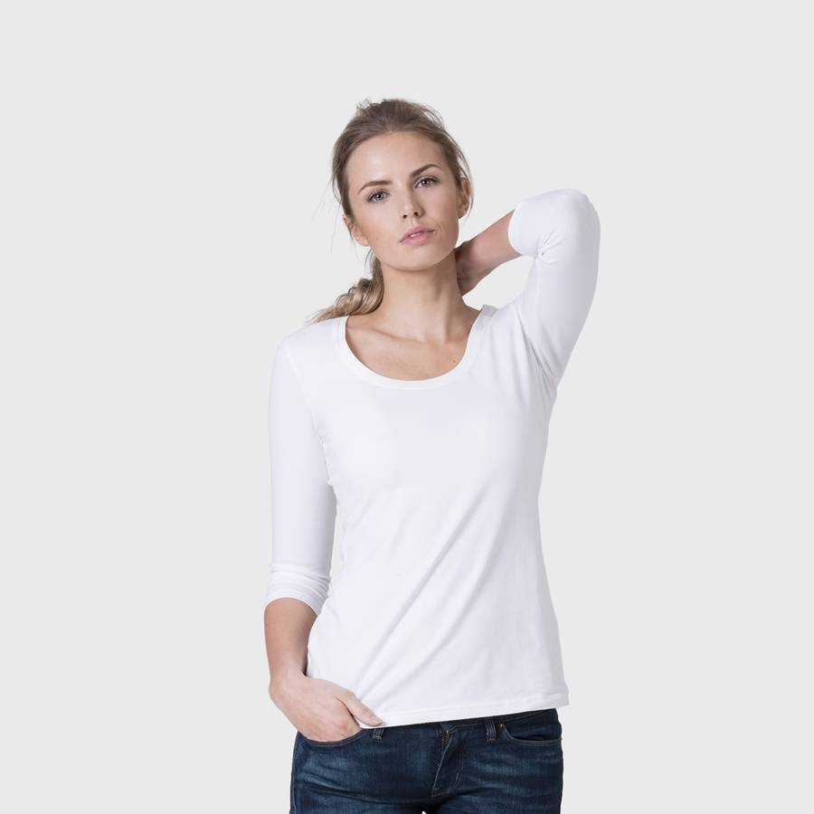 White t shirt company - White Women S Fitted Three Quarter Sleeve Scoop Neck T Shirt