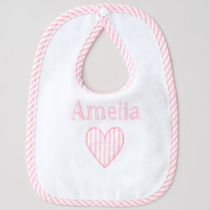 Personalised Baby Girl Applique Heart Bib - shop by price