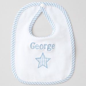 Personalised Baby Boy Applique Star Bib - shop by price