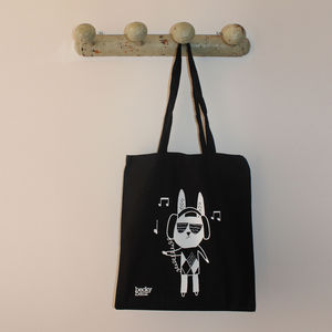 Dj Rabbit With Headphones Shopping Bag