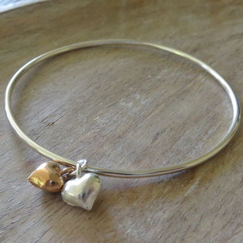 Silver Bangle With Rose Gold And Silver Hearts