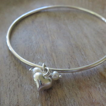Silver Bangle With Heart And Pearls