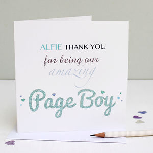 Personalised Page Boy Thank You Card - page boy cards