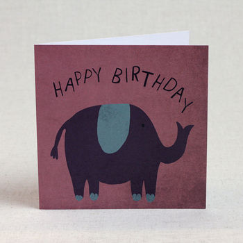 Purple Elephant Happy Birthday Card