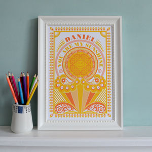Personalised You Are My Sunshine Print - children's pictures & paintings