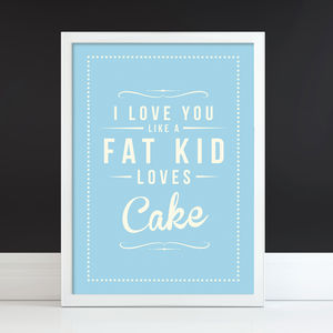 'Fat Kid Cake' Fine Art Retro Print