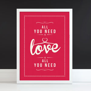 'All You Need Is Love' Fine Art Retro Print