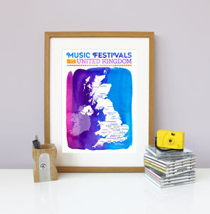 Uk Music Festival Map Wall Print