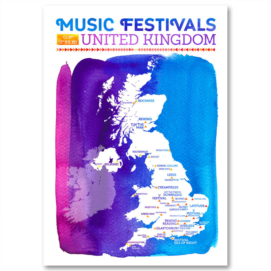 uk music festival map wall print by katy clemmans