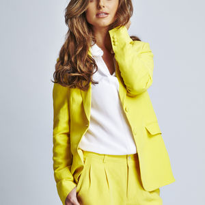 Angelina Silk Linen Suit Jacket - coats & jackets