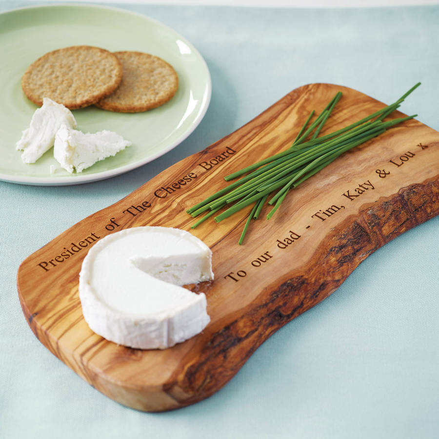 Wooden Cheese Boards ~ Personalised olive wood cheese board by the rustic dish