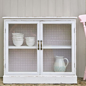 White Glass Fronted Cabinet - furniture