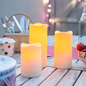 Set Of Three Outdoor Battery LED Candles - lighting