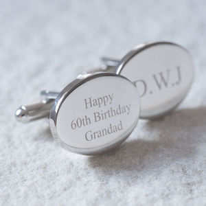 Personalised Oval Cufflinks - birthday gifts