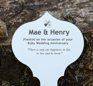 Personalised Anniversary Tree Or Garden Plaque - for the couple
