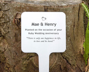 Birthday Personalised Garden Plaque - 40th anniversary: ruby