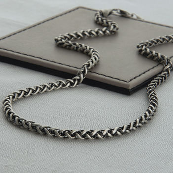 Heavy Sterling Silver Detailed Chain Necklace