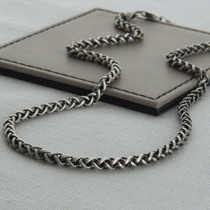 Heavy Sterling Silver Detailed Chain Necklace - gifts for him