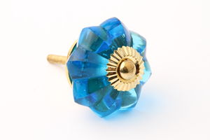 Turquoise Glass Flower Drawer Knob - home accessories