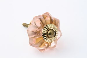 Pale Pink Glass Flower Drawer Knob
