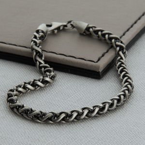 Heavy Sterling Silver Detailed Chain Bracelet - gifts for him