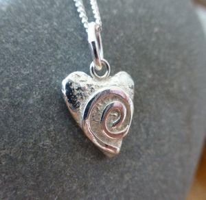 Silver Swirly Heart Mini Pendant And Chain