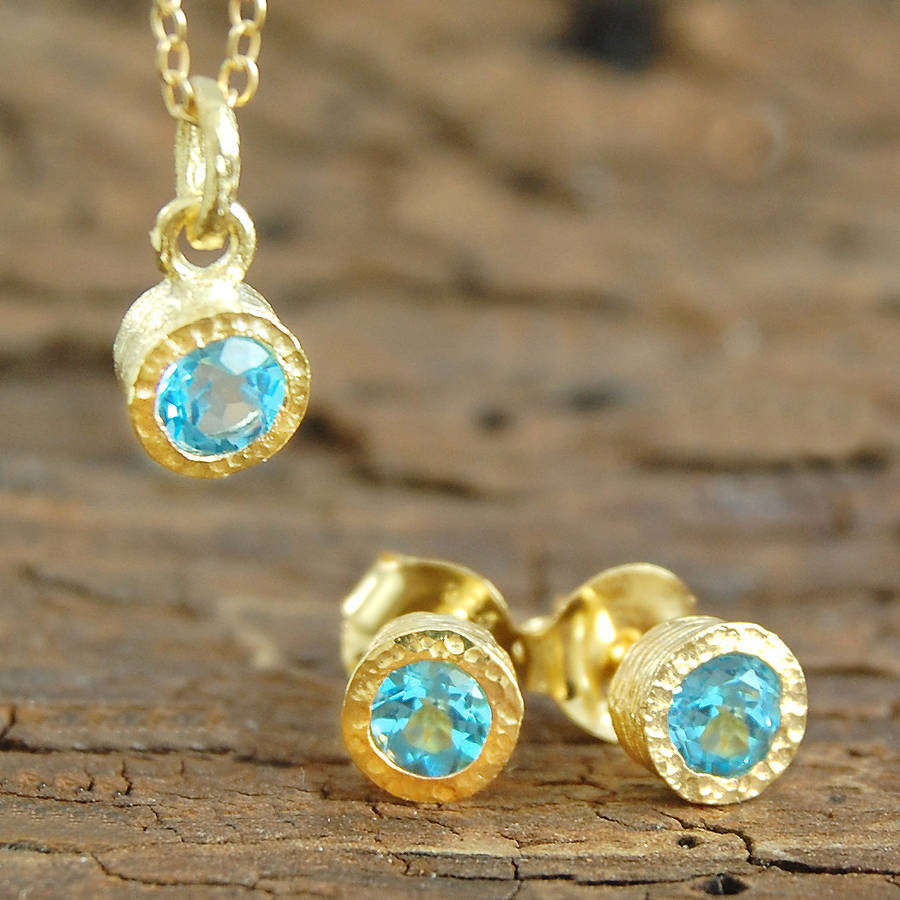 Gemstone Blue Topaz Gold Jewellery Gift Set By Embers