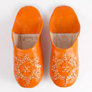 Orange Babouche Leather Slippers