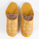 Mustard Yellow Babouche Leather Slippers