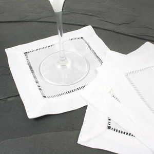 Pure White Linen Cocktail Napkins Set Of Two