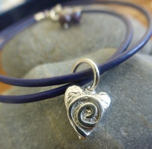 Silver Swirly Heart Leather Charm Bracelet