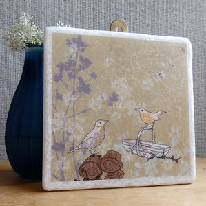 Songthrush And Trug Large Marble Wall Art - mixed media & collage