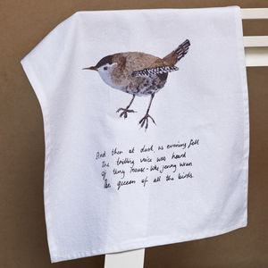 Illustrated Wren Tea Towel