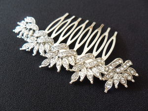 Delicate Floral Crystal Hair Comb - wedding fashion