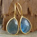 Gold Irregular Labradorite Drop Hook Earrings