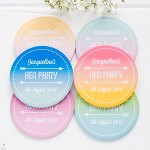 Personalised Ombre Hen Party Badges - hen party ideas