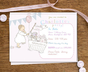 Girls First Birthday Party Invitations 'Toys'