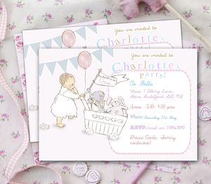 Girls First Birthday Party Invitations 'Toys' - personalised