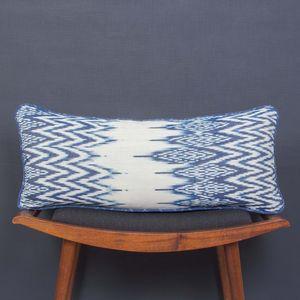 Ikat Indigo Zig Zag Bolster Cushion - cushions