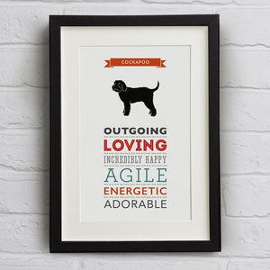 Cockapoo Dog Breed Traits Print - posters & prints