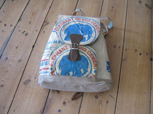 Recycled Elephant Cement Bag Rucksack/Backpack - backpacks