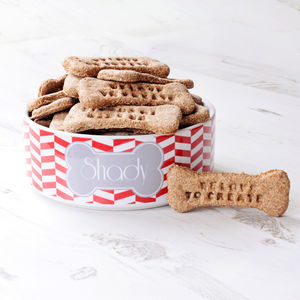Personalised Herringbone Pet Bowl - food, feeding & treats