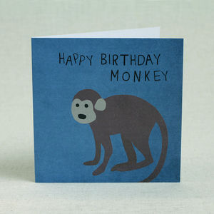 Blue Monkey Happy Birthday Card - personalised