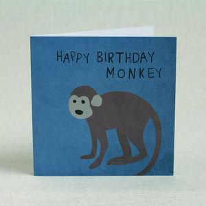 Blue Monkey Happy Birthday Card - birthday cards