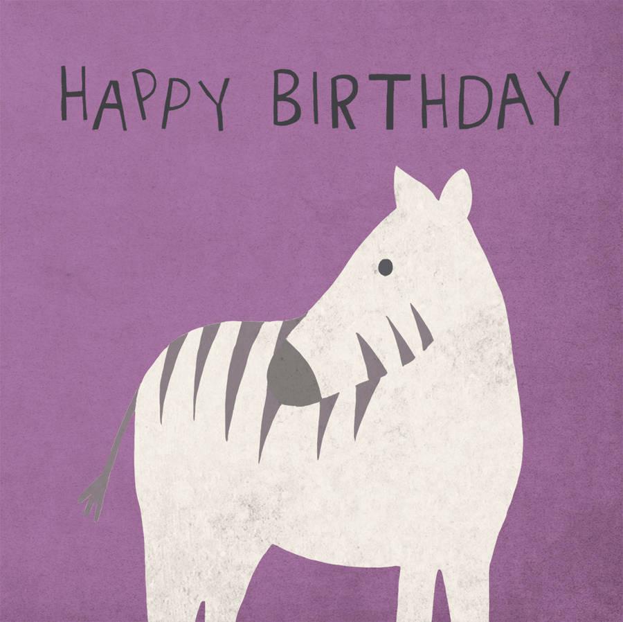 Zebra Purple Happy Birthday Card By Lil3birdy Notonthehighstreet Com