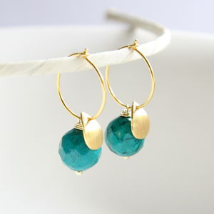 Chinese Turquoise And 14ct Gold Drop Hoops - earrings