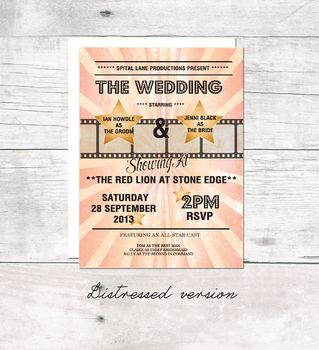 Lets Go To The Movies Invitation For Party Or Wedding