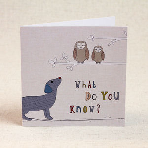 Dog And Owls Children's Birthday Card