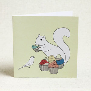 Cheeky Squirrel And Cupcakes Birthday Card